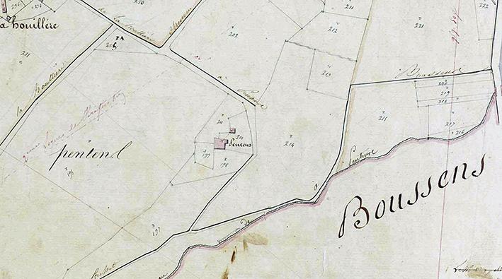 Martres-Tolosane (31)  Site de Pentens sur le cadastre napoléonien