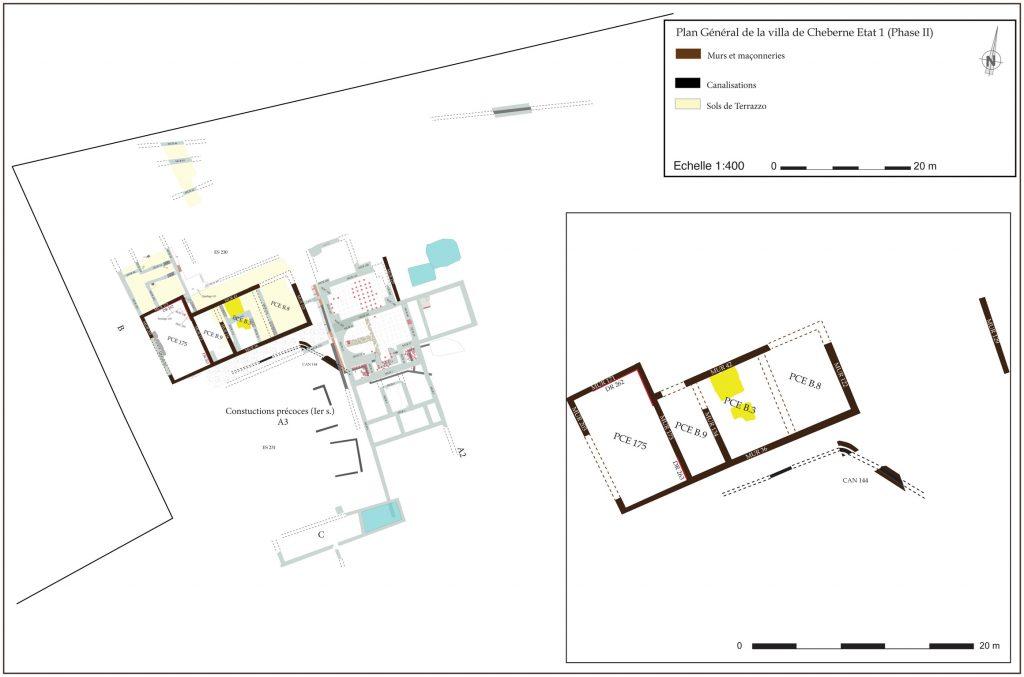 Fig. 2 - Plan Général de la villa de Cheberne Etat 1 (Phase 2)