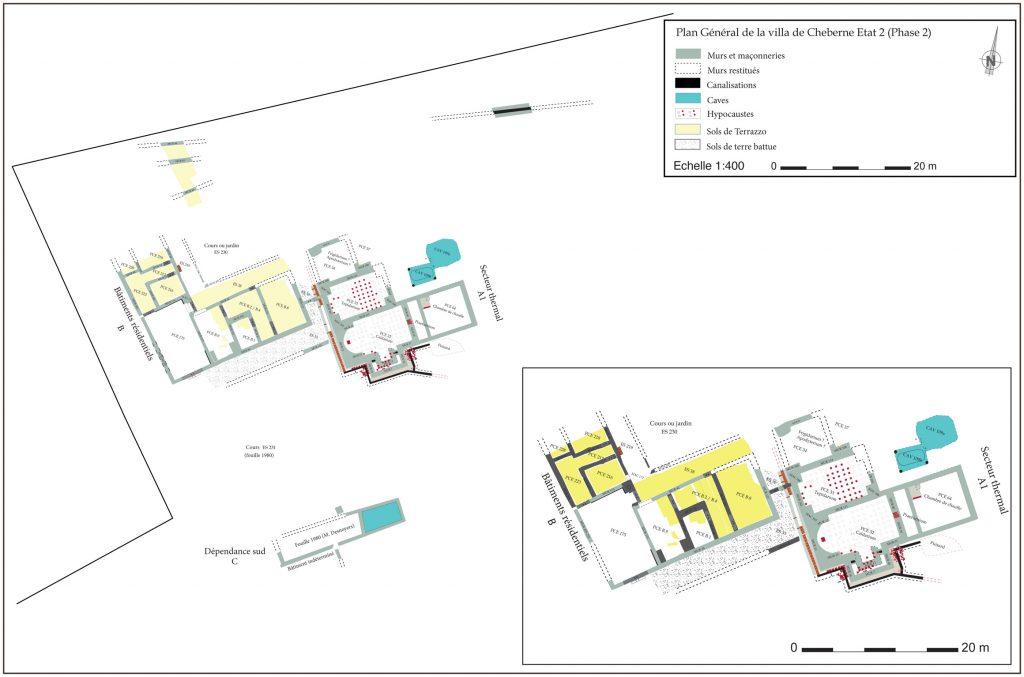 Fig. 3 - Plan Général de la villa de Cheberne Etat 2 (Phase 2)