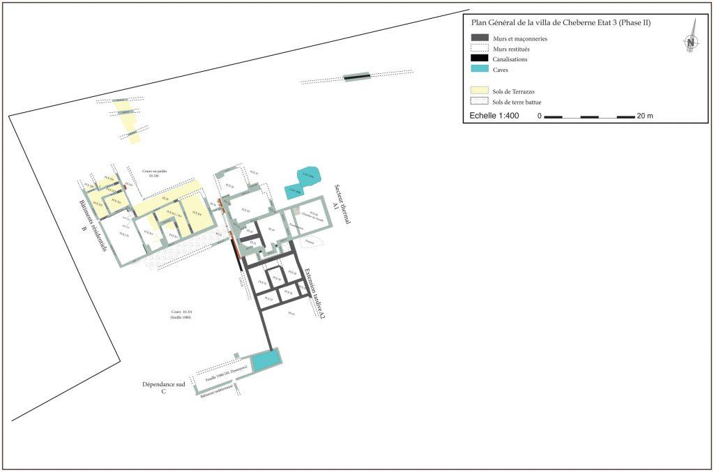 Fig. 4 - Plan Général de la villa de Cheberne Etat 3 (Phase 2)
