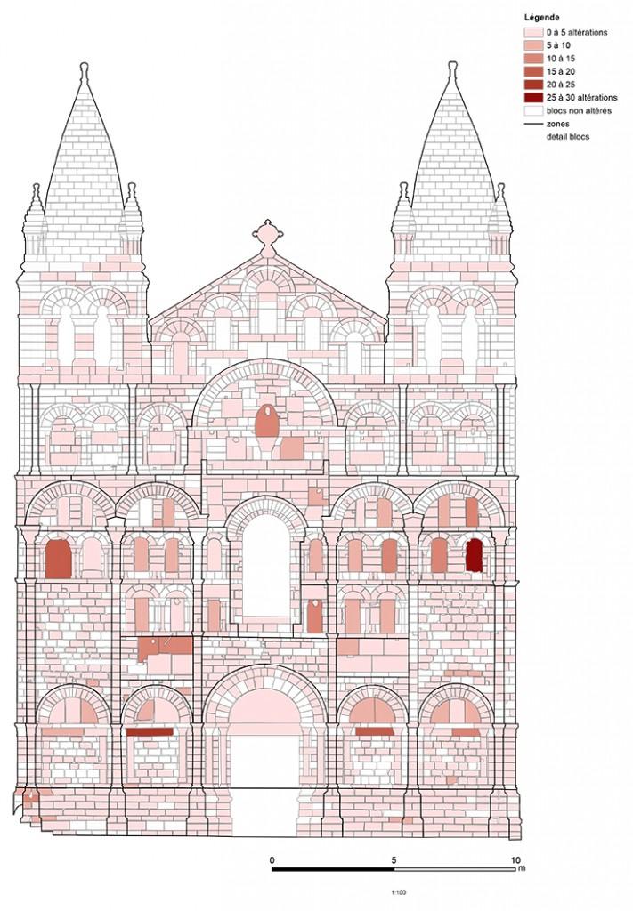 Façade de la cathédrale d'Angoulême Nombre d'altérations par bloc