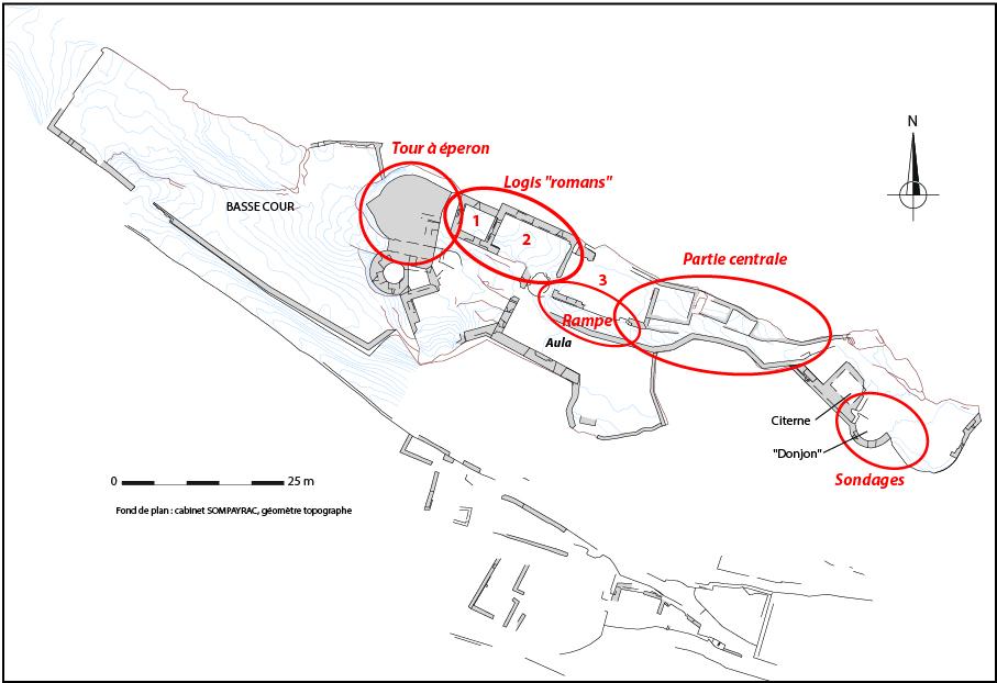 Fig. 3 - Plan du château avec localisation des zones étudiées