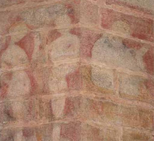 Fig. 6 - Peintures murales dites de la « Danse Macabre », Adam et Êve voisinant un prédicateur