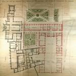 Fig. 2 - Plan de l'abbaye lors de sa vente comme bien national (les deux couleurs indiquent les deux propriétés distinctes)