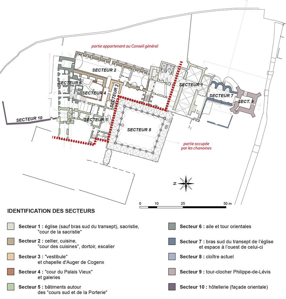 Fig. 3 - Plan topographique de l'abbaye établi au cours du PCR