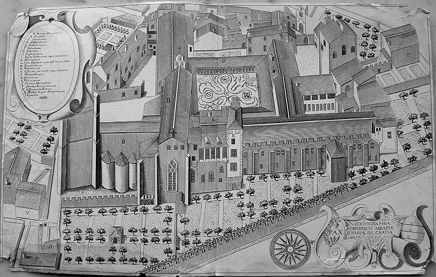 LAGRASSE-4-005_Monasticon Fig. 4 - Scénographie de l'abbaye vue depuis l'est en 1867, dans le Monasticon Gallicanum (1868)