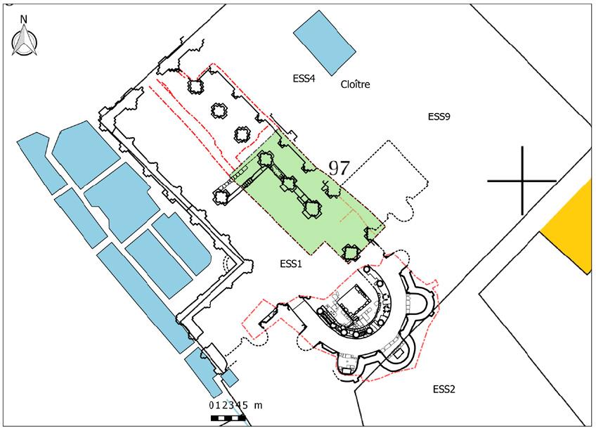Fig. 6 - Plan topographique du site monastique avec localisation des zones étudiées en 2016