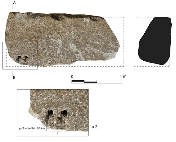 Caractéristiques du bloc en grand appareil (seulement élément archéologique reconnu) Caractéristiques du bloc en grand appareil (seulement élément archéologique reconnu)