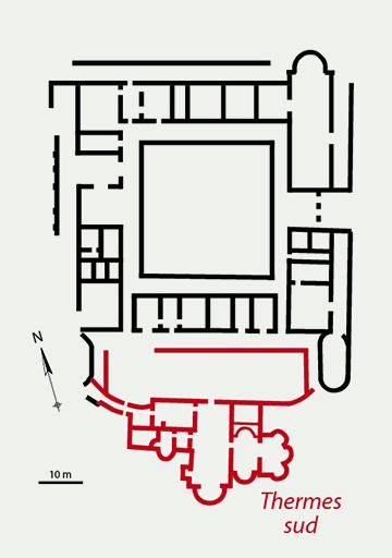 Fig. 3 - Plan des thermes sud de la villa