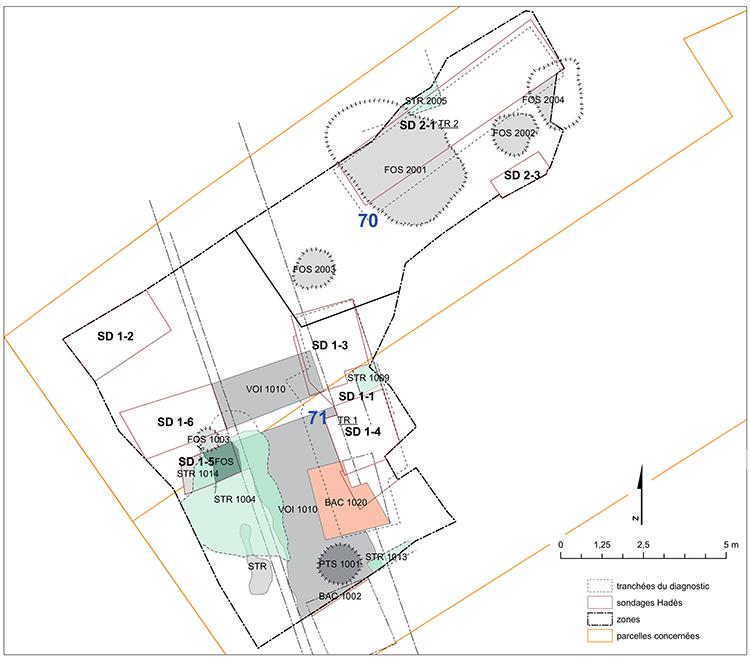 Fig. 4 - Plan masse des structures dégagées sur l'emprise de fouille