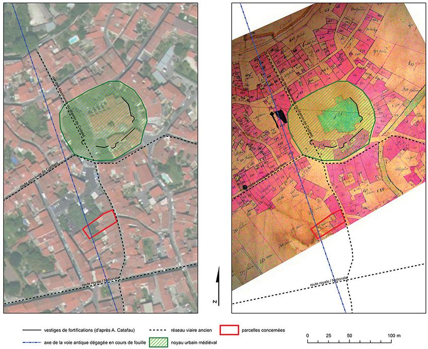 Fig. 9 - Prolongement de l'axe de la voie sur une photographie aérienne et sur fond de plan dit napoléonien