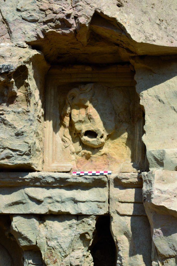 Fig. 3 - Détail d'une métope à tête de lion