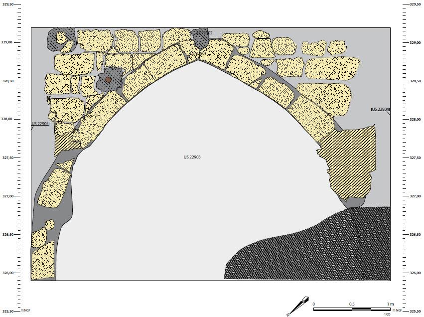 Relevé pierre à pierre d'un des murs