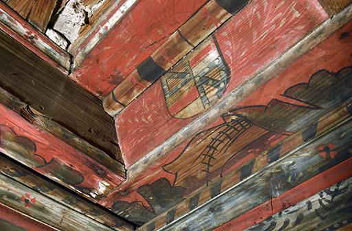 Fig. 1 - Détail du décor du plafond à caissons