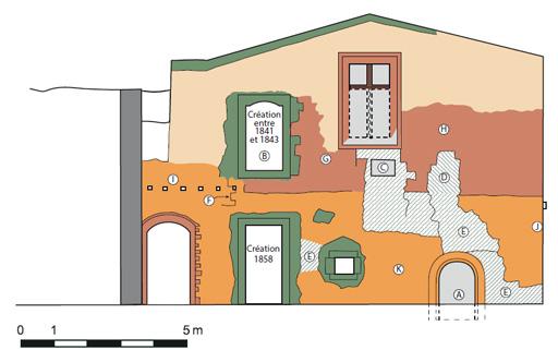 Fig. 1 - Analyse archéologique du mur pignon sud