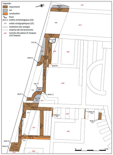 Fig. 2 - Plan des vestiges du secteur nord