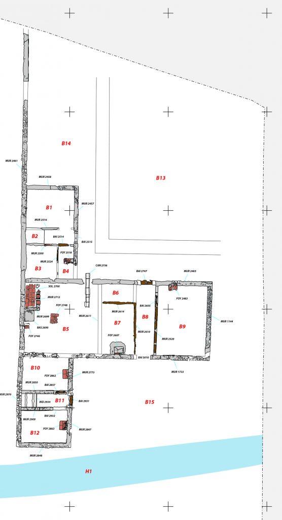 Fig. 1 - Plan du bâtiment B à la fin du Ier siècle ou au tout début du IIe siècle