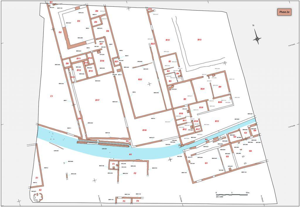 Fig. 2 - Plan du site à la fin du IIe siècle et jusqu'au milieu du IIIe siècle
