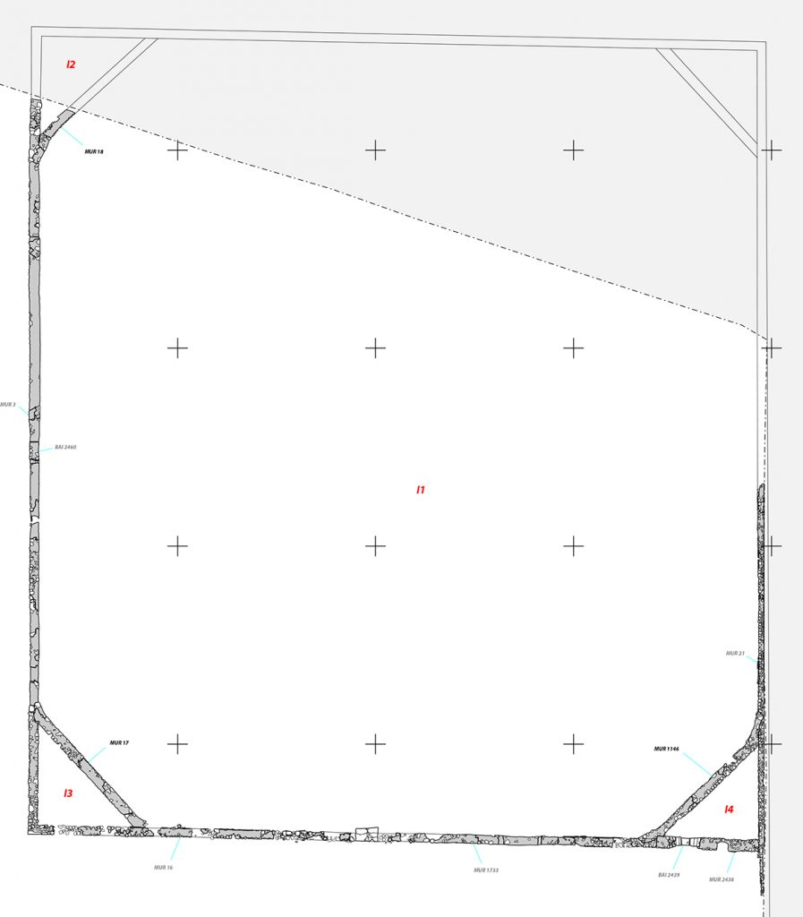 Fig. 3 - Plan du bâtiment de la parcelle B au IVe siècle