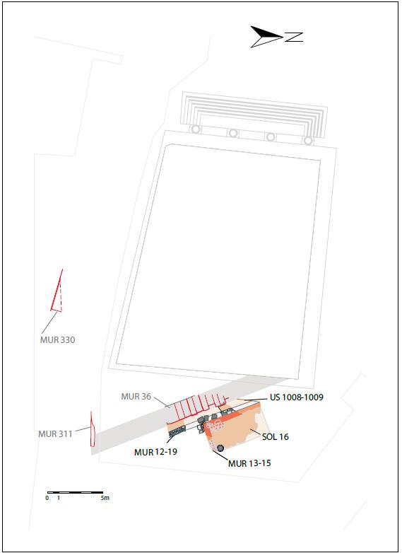 Fig. 1 - Essai de restitution des vestiges du Haut-Empire de la place de la Fontaine Chaude