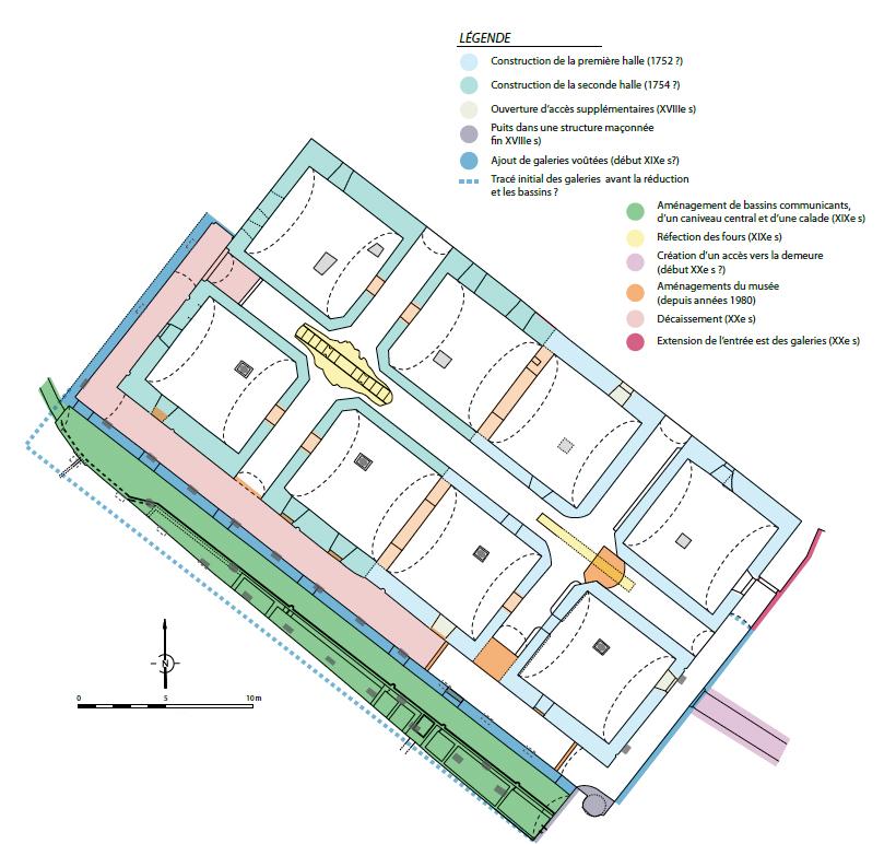 Fig. 3 - Phases de construction et d'aménagements du soubassement de la verrerie