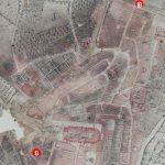 Fig. 1 - Localisation des conteneurs enterrés en 2014 sur un plan de 1755