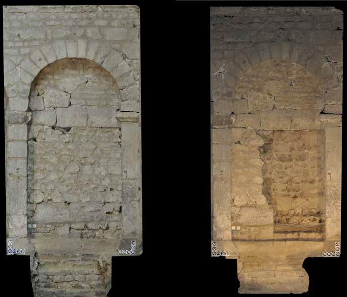 Fig. 1 - Orthophotographie de la porte avant et après dégagement du bouchage