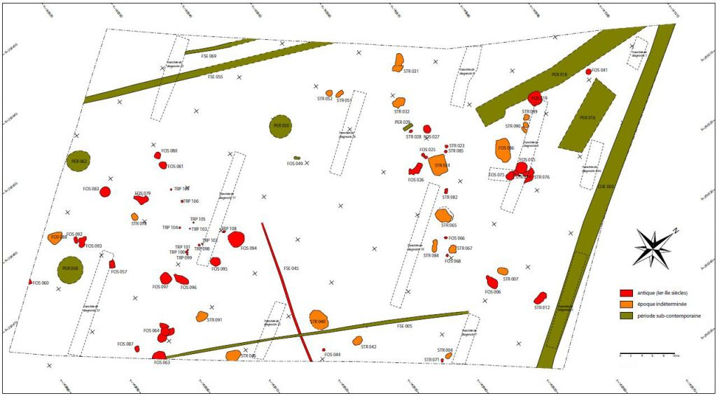 Fig. 1 - Plan phasé des vestiges