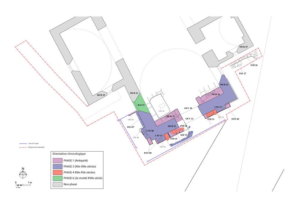 Fig. 2 - Plan phasé des vestiges