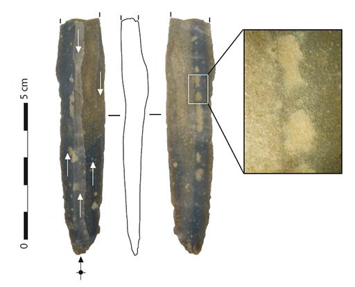Fig. 1 - Lame paléolithique et détail de la surface à la loupe binoculaire