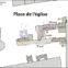 Fig. 2 - Plan général de la place de l'église, zones d'intervention