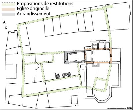 Fig. 3 - Plan de la maison hospitalière, propositions de restitution