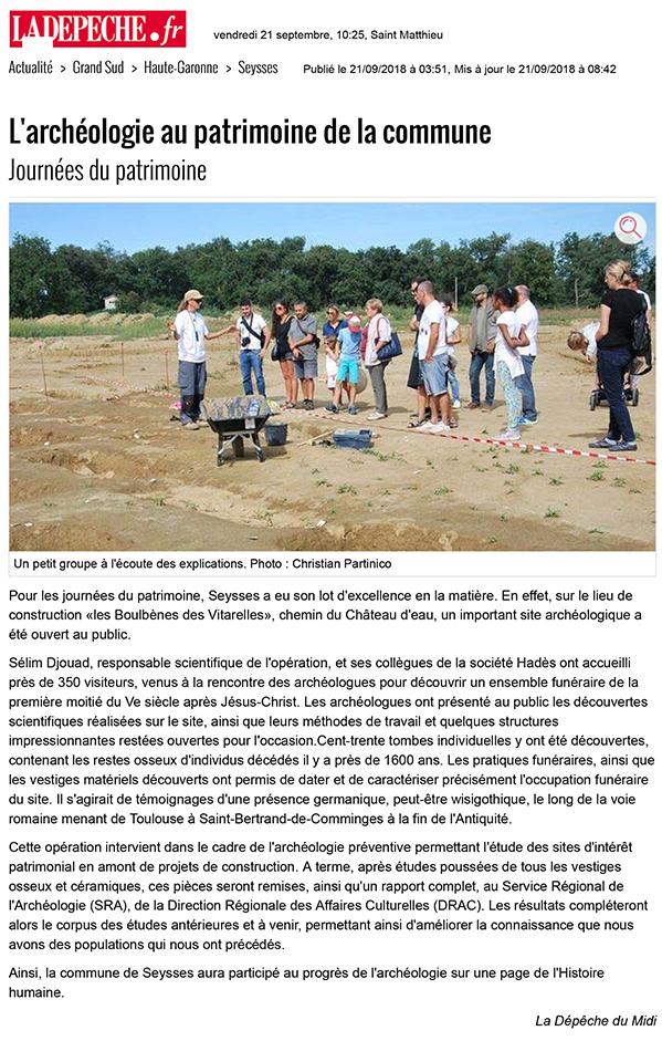 L'archéologie au patrimoine de la commune - 21/09/2018 - ladepe